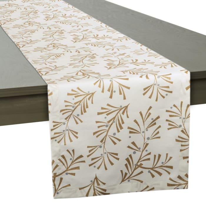 Metallic Holly Leaves Table Runner 14x72