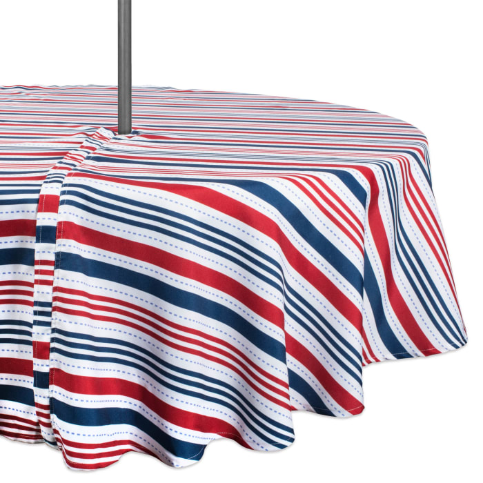 Patriotic Stripe Outdoor Tablecloth With Zipper 52 Round