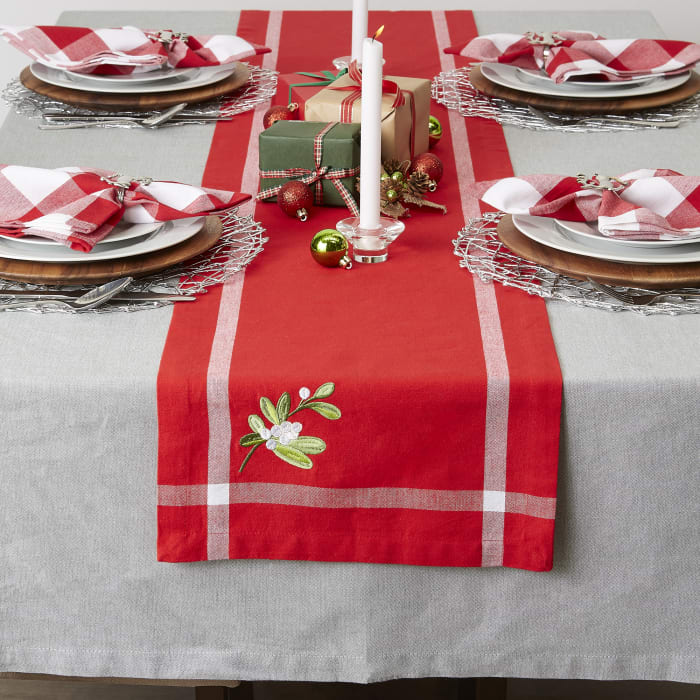 Red Embroidered Mistletoe Corner With Border Table Runner 14x108