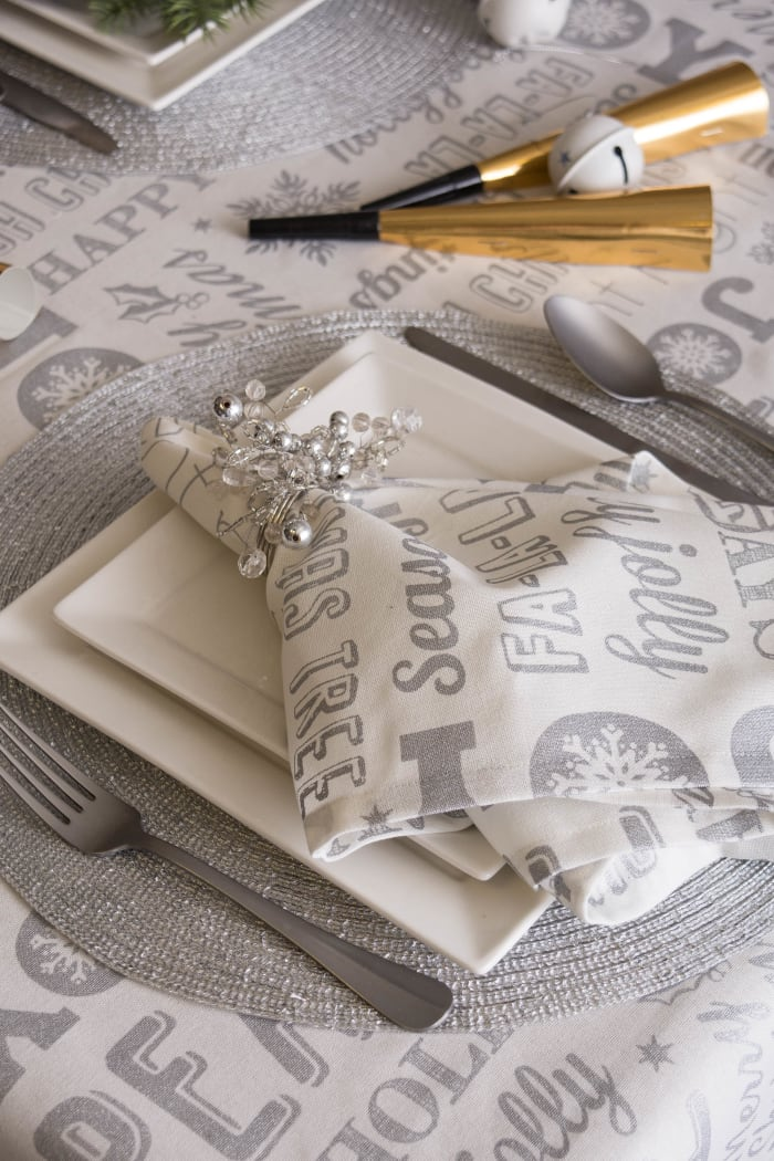 Silver Christmas Collage Tablecloth 60x120