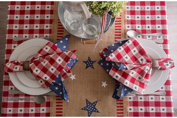Star Check Tablecloth 60x104