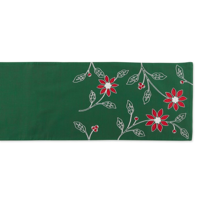 Table Runner Embroidered Poinsetta