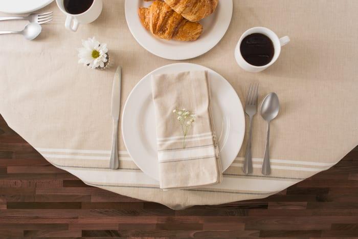 White French Stripe Tablecloth 60x120
