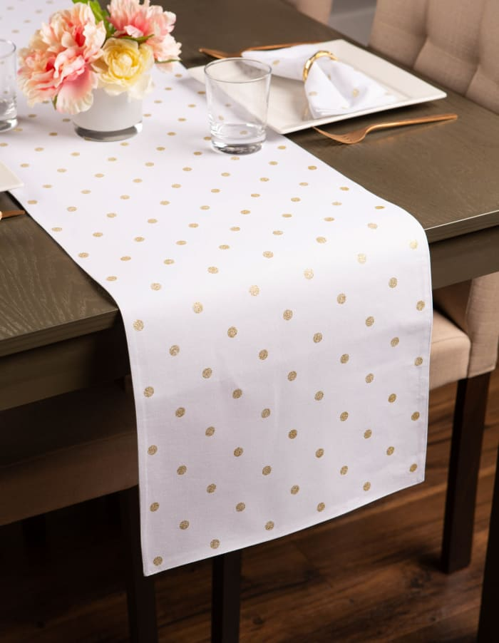 Metallic White/Gold Reversible Polka Dot Table Runner 13x90