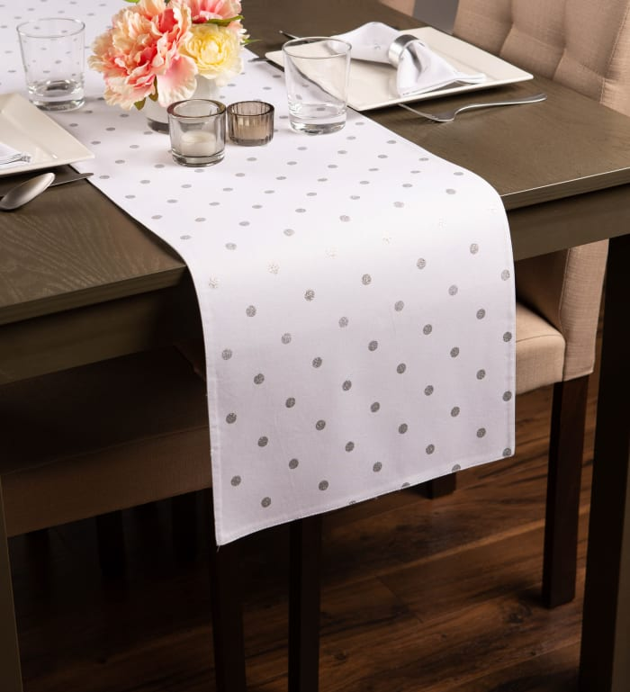 Metallic White/Silver Reversible Polka Dot Table Runner 13x72