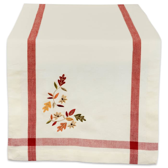 Natural Embroidered Fall Leaves Bordered Table Set