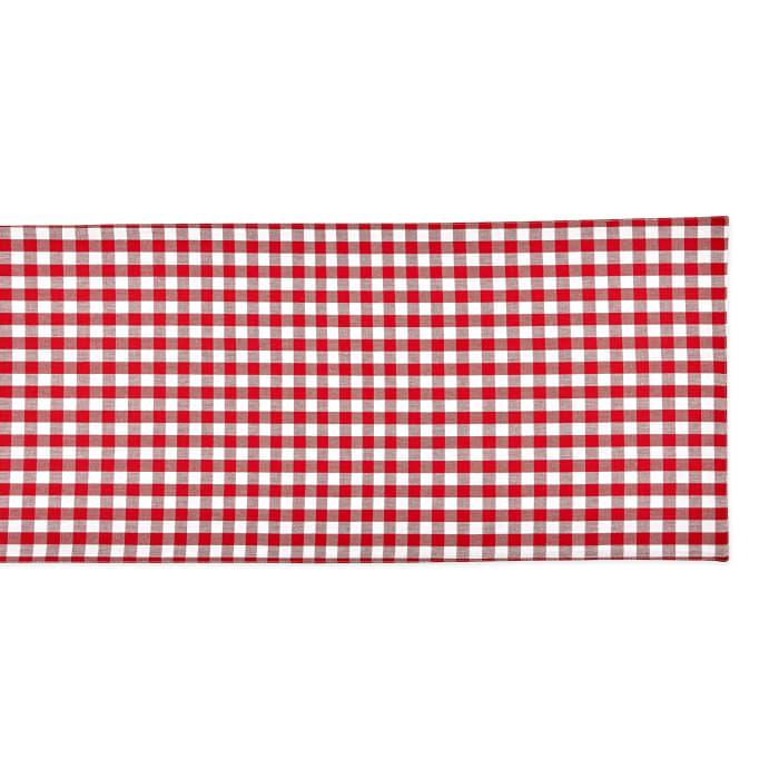 Red/White Reversible Gingham/Buffalo Check Table Runner 14x108