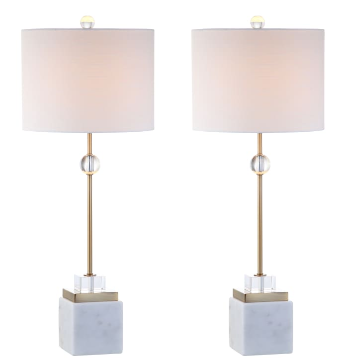 Marble/Crystal LED Table Lamp, Brass (Set of 2)