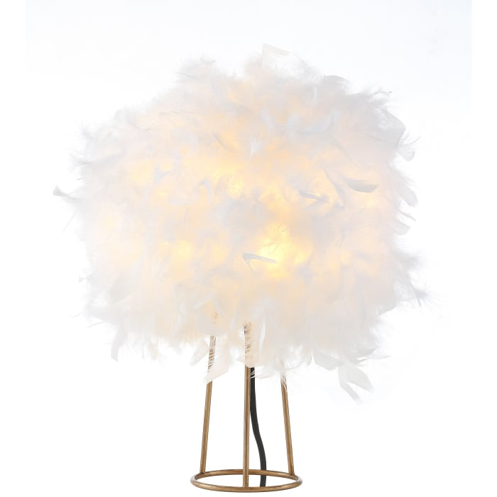 Feather Metal LED Table Lamp, White/Gold