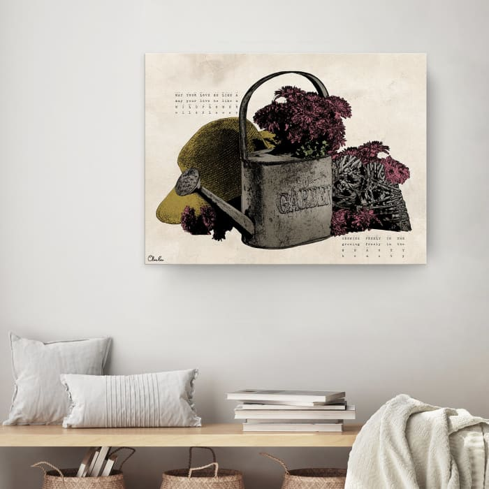 Poetic Flora IX Beige Canvas Floral Wall Art
