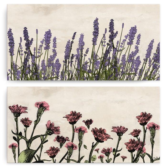 Poetic Flora Set V Multicolored 2-Pc Canvas Wall Art Set
