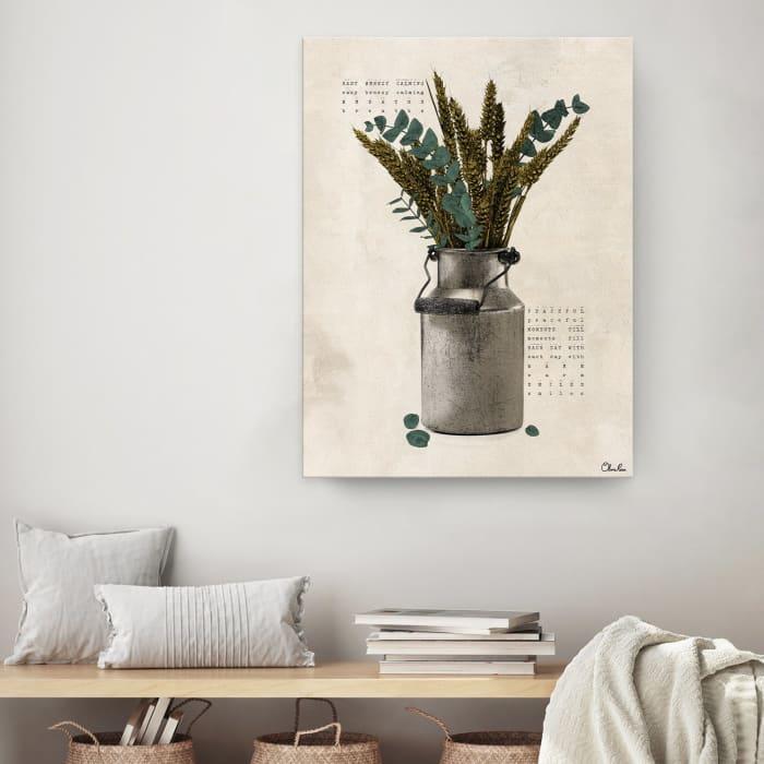 Poetic Flora VI Beige Canvas Botanical Wall Art