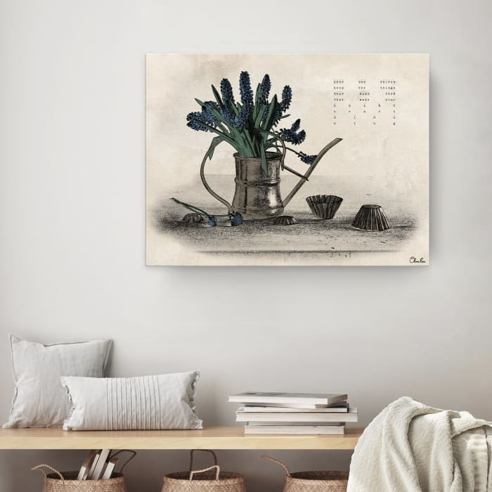 Poetic Flora XI Beige Canvas Floral Wall Art