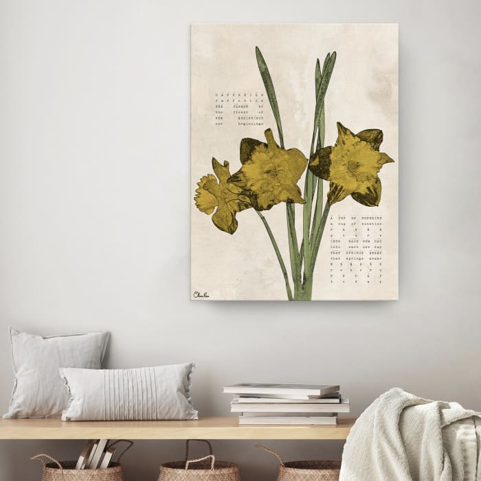 Poetic Flora XIV Yellow Canvas Floral Wall Art