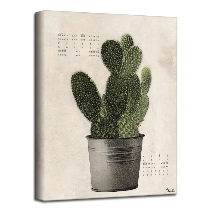 Poetic Flora XV Green Canvas Succulent Wall Art