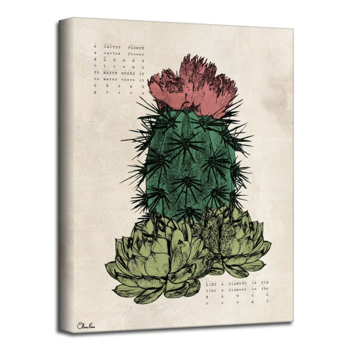 Poetic Flora XVIII Green Canvas Succulent Wall Art