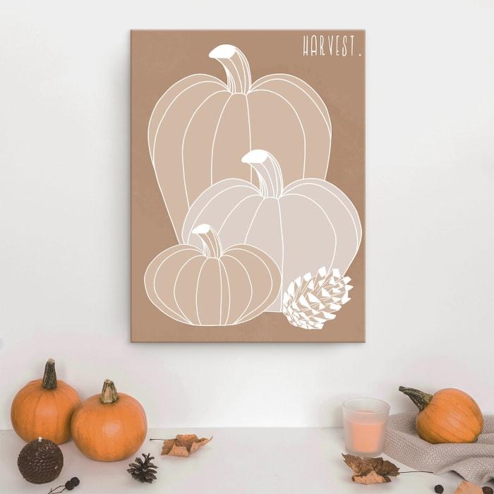 Minimal Harvest I Fall Brown Canvas Wall Art