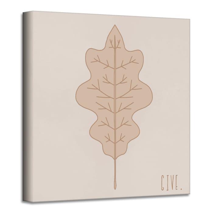 Minimal Leaf III Fall Harvest Beige Canvas Wall Art