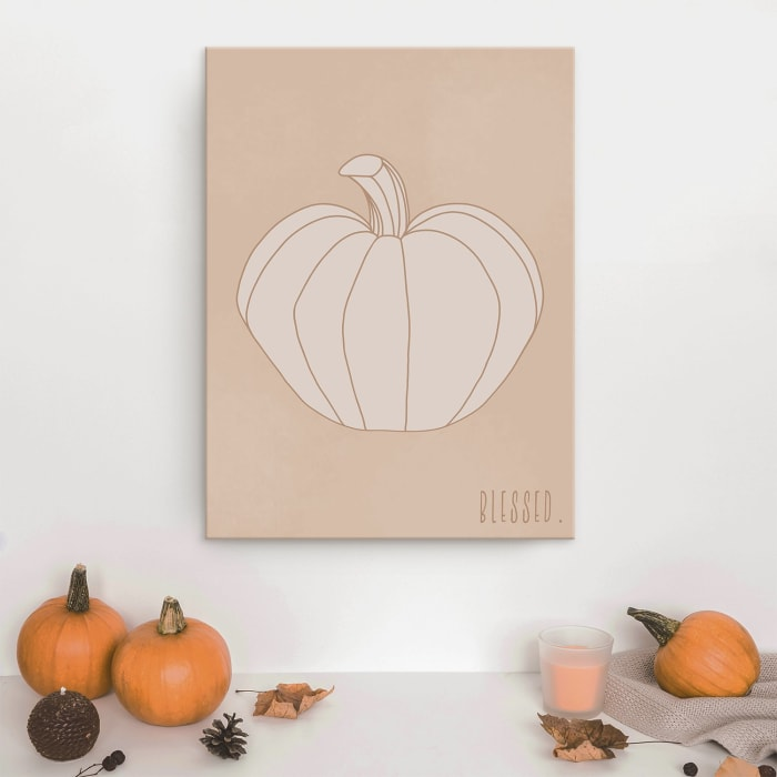 Minimal Pumpkin II Fall Harvest Canvas Wall Art