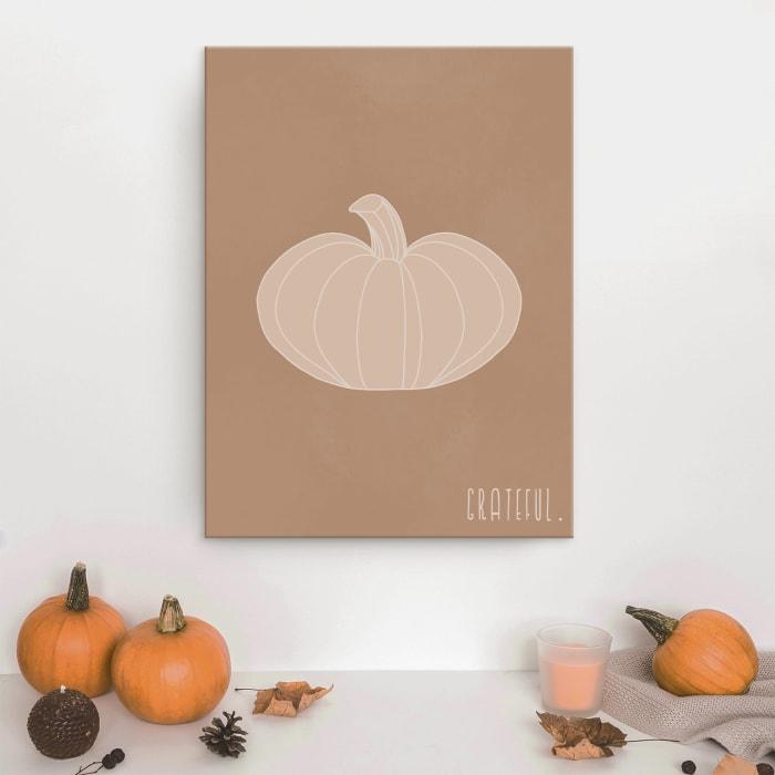 Minimal Pumpkin III Fall Harvest Brown Canvas Wall Art