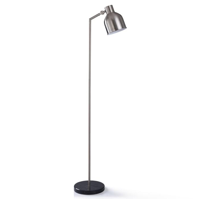 Irby Black Marble and Brushed Nickel Metal Floor Lamp