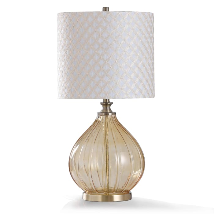 Amber Smoked Ribbed Glass With Antique Brass Metal Table Lamp