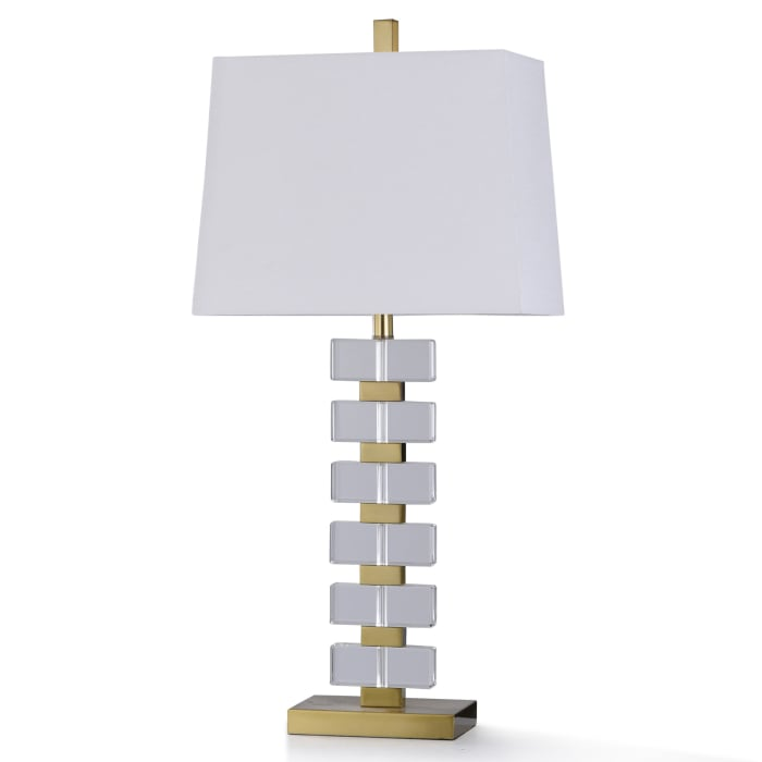 Antiqued Brass Metal With Clear Crystal Table Lamp