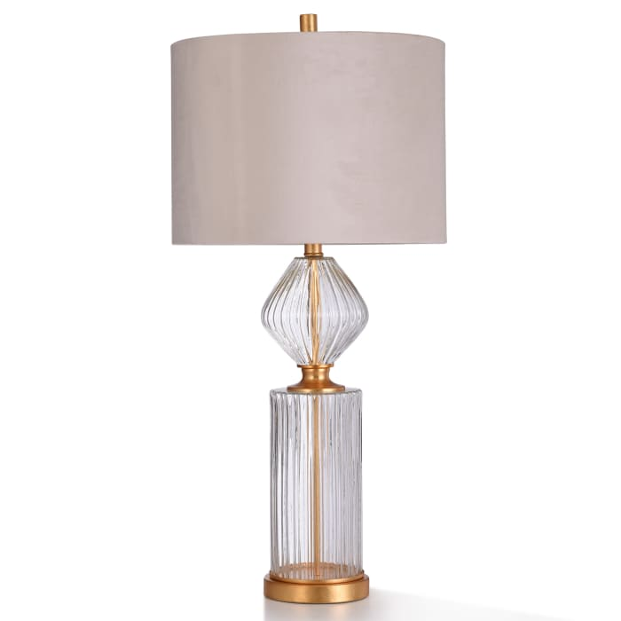 Clear Ribbed Seeded Glass With Antiqued Gold Metal Table Lamp