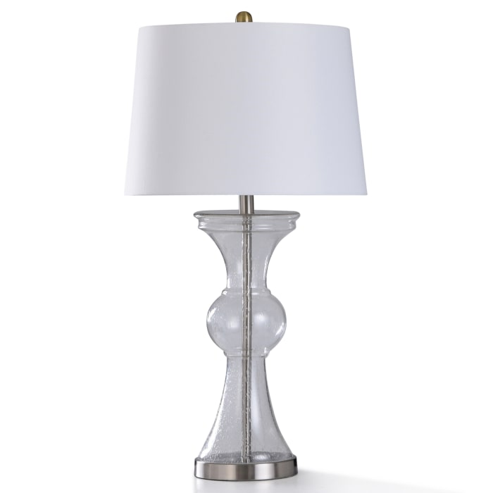 Clear Seeded Glass and Brushed Nickel Metal Table Lamp