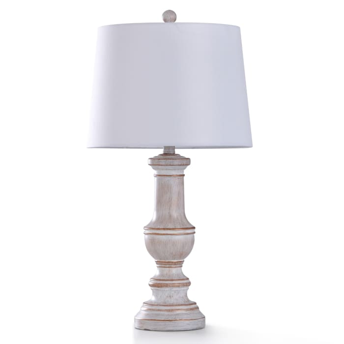 Malta White Washed Finished Base With Painted Copper Highlights Table Lamp