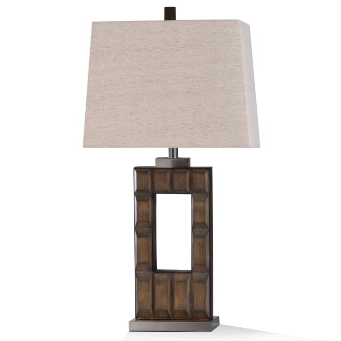 Stacked Dark Brown Stone With Brushed Steel Metal Table Lamp