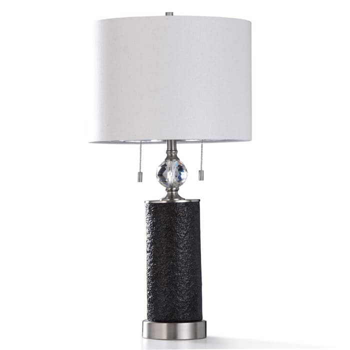 Aglona Textured Coal Resin With Diamond Cut Clear Acrylic and Brushed Steel Base Table Lamp