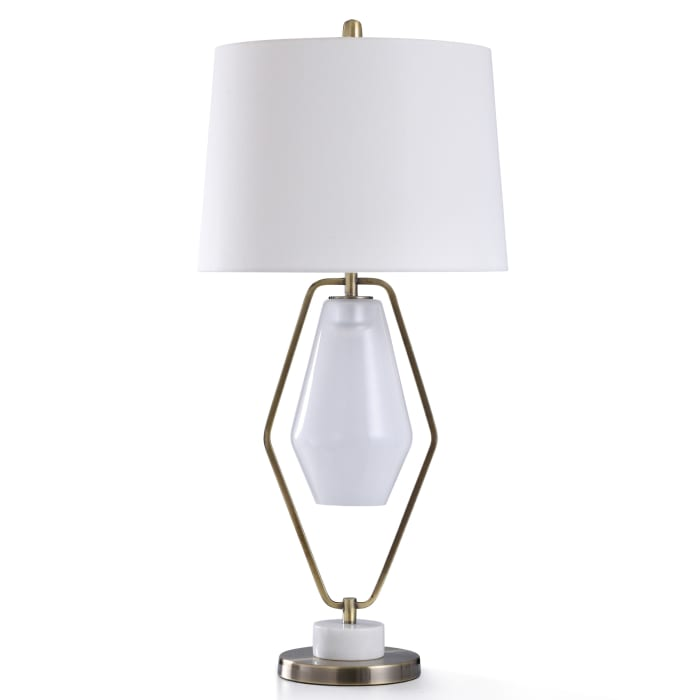 Antique Brass Metal With Natural Marble and Frosted Glass Table Lamp