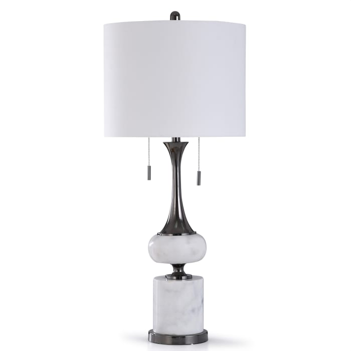 Arabescato White Marble and Brushed Black Nickle Table Lamp