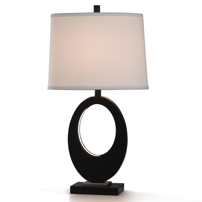 Black Resin and Brushed Steel Metal Table Lamp