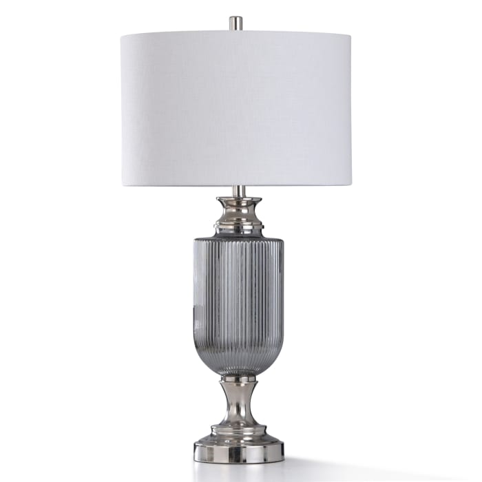 Chrome Metal and Nickel Plated Ribbed Glass Table Lamp