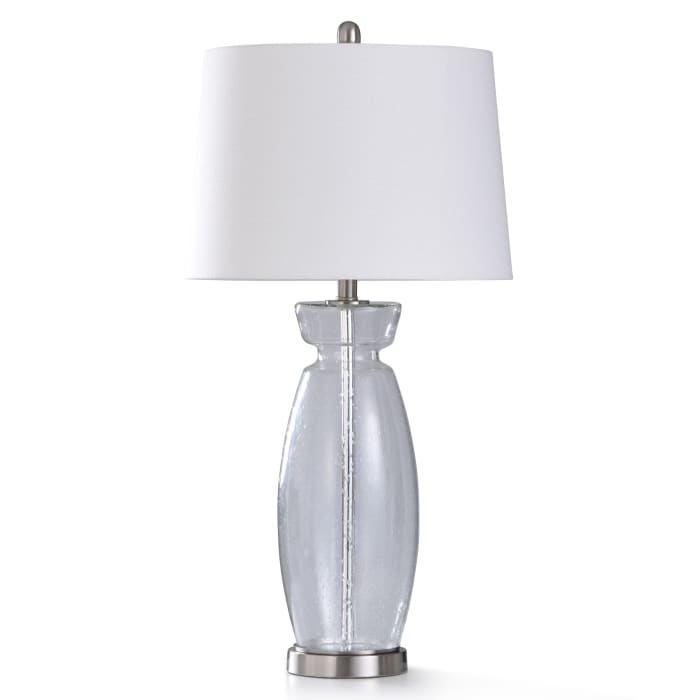 Clear Seeded Glass With Brushed Steel Metal Table Lamp