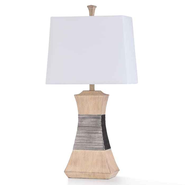 Haverhill Antiqued Ivory Resin and Banded Nickel Metal Table Lamp