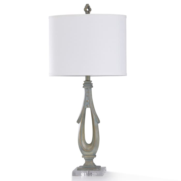 Hot Springs Antiqued Light Green Resin and Clear Crystal Table Lamp