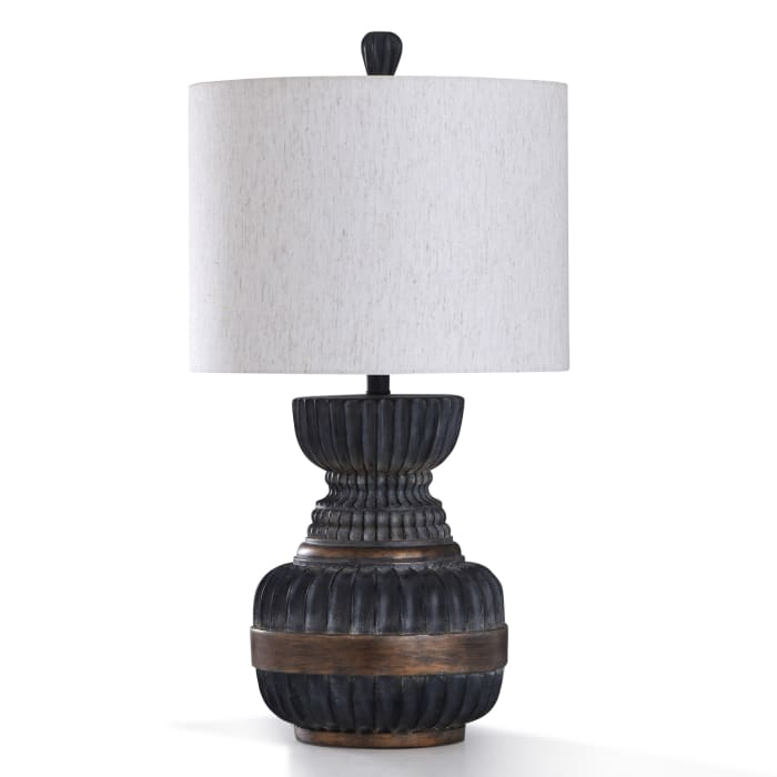 Malta Ribbed Fadded Ebony and Antique Bronze Metal Table Lamp