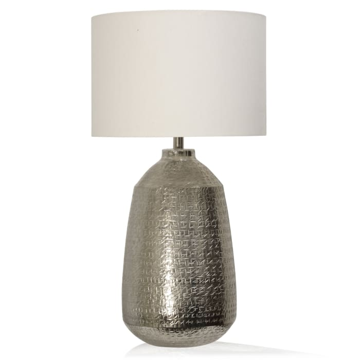 Metal Textured Satin Nickel Metal Table Lamp
