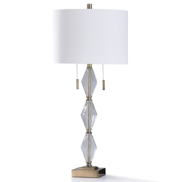 Old Brass Metal Base With Clear Seeded Glass Table Lamp