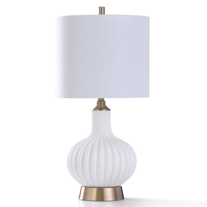 White Ribbed Glass With Brushed Brass Metal Table Lamp