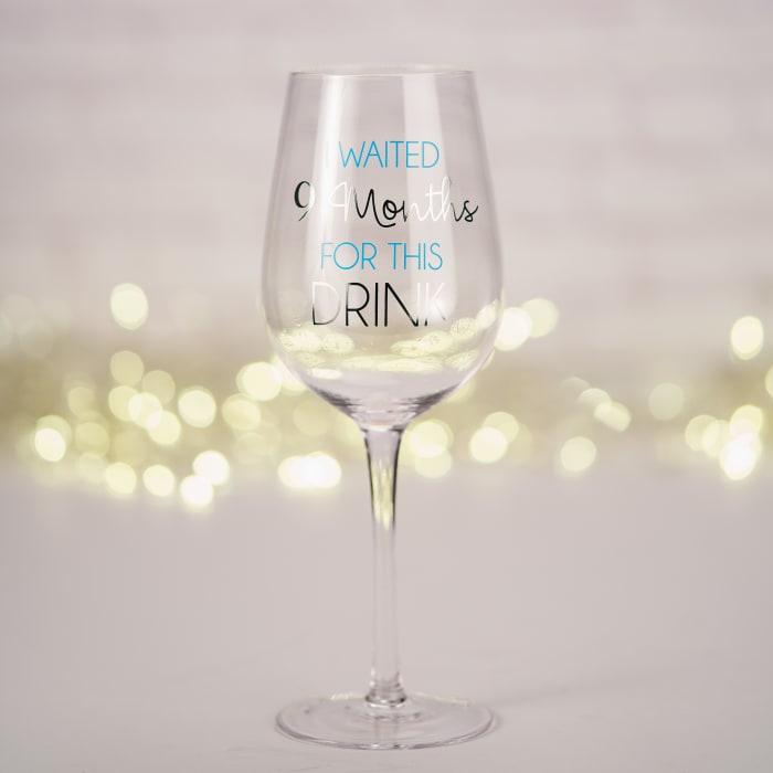 9 Months Blue - Crystal Wine Glass
