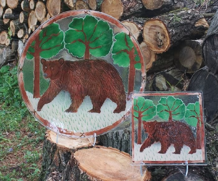 Bear Glass Plate