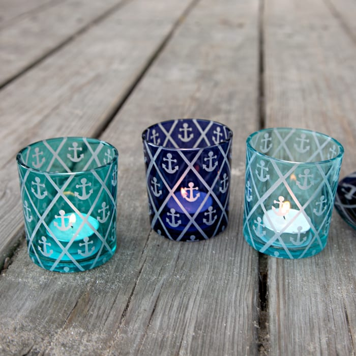 Blue Anchor - 3 Assorted Votive Holders