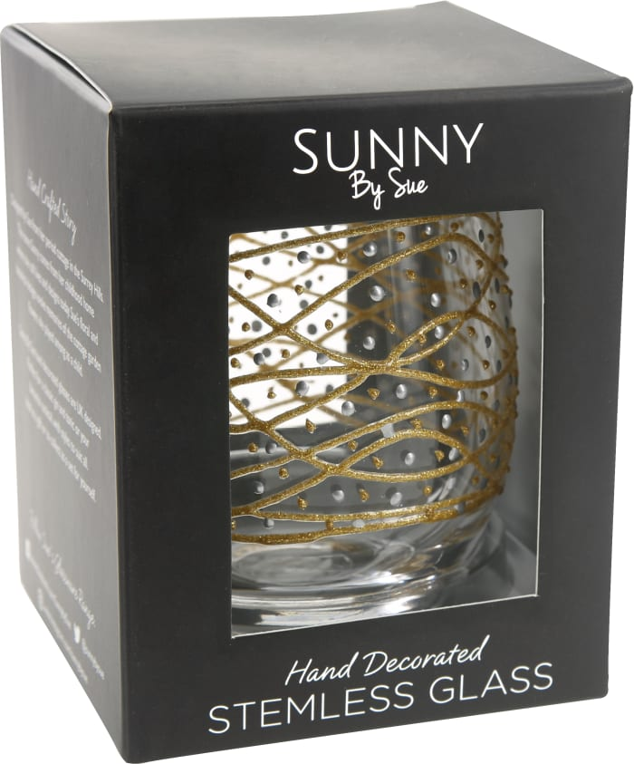 Gold Tangle - Hand Decorated Stemless Glass