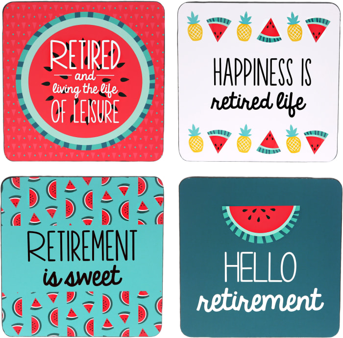Hello Retirement - (4 Piece) Coaster Set with Box