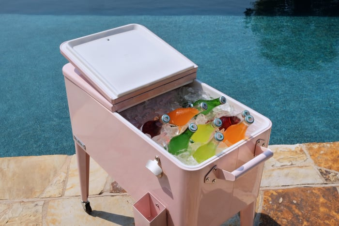 Pink Rolling Patio Cooler