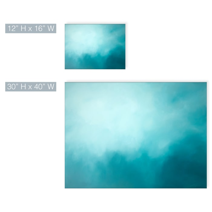 Underwater Clouds XIV Teal Modern Coastal Canvas Wall Art